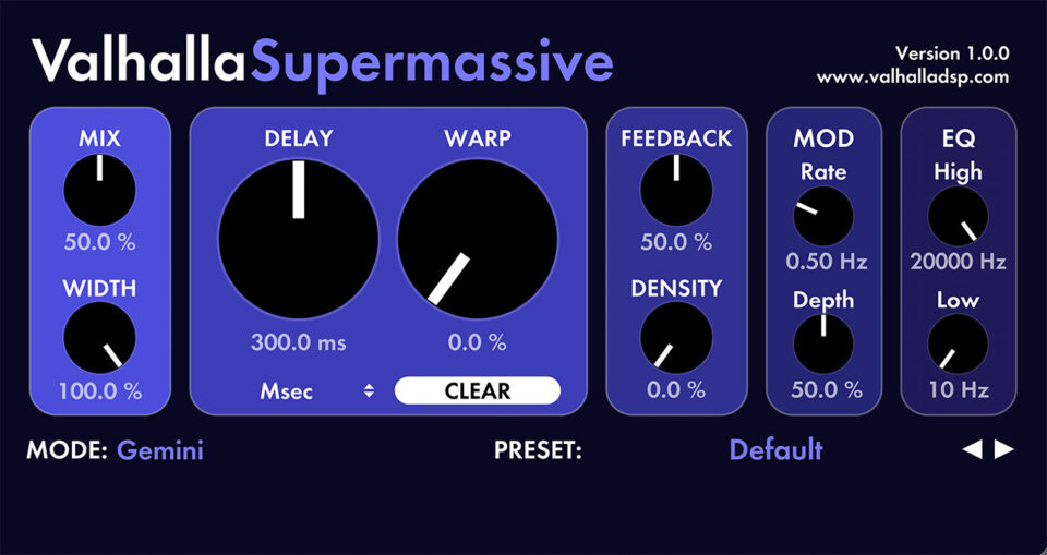 Valhalla Super Massive a free vst plugin